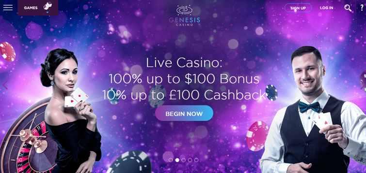 genesis_casino_live_casino_100%_up_to_$100_bonus_10%_up_to_£100_cashback